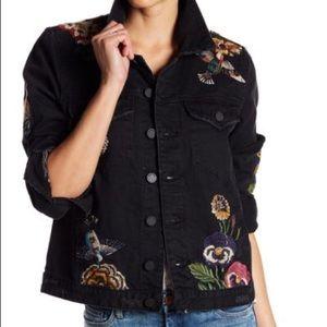 Blank NYC Black Embroidered Denim Jacket